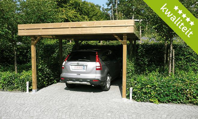 houten carport plat dak